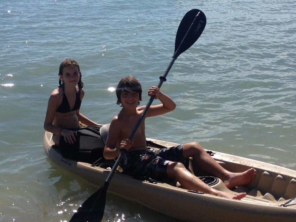Ethan and Callie Kayaking