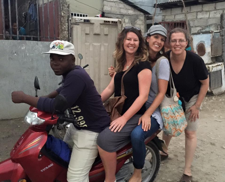 Riding to town Haiti style with Betsy and Andrea