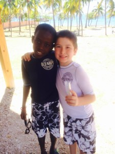 Aleando and Evan at beach church communion service last month.