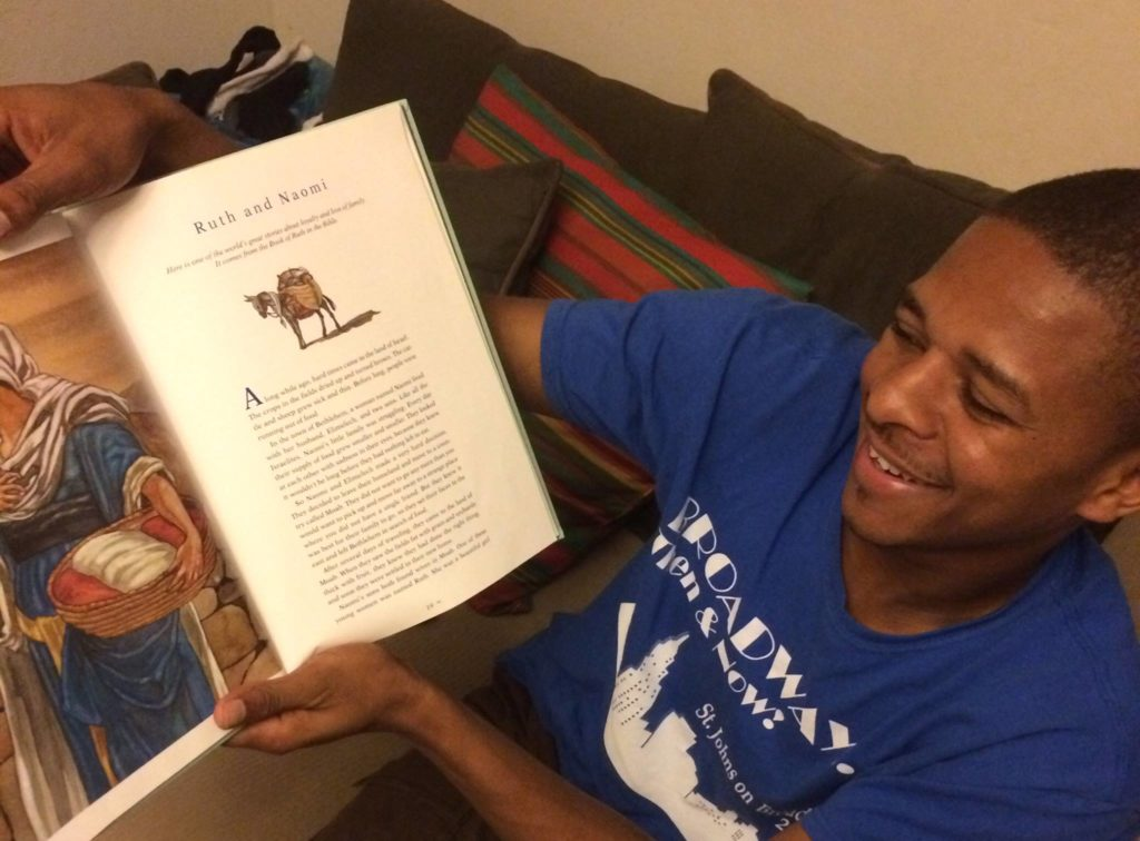 """This story is too cute not to share again. One night I came out of my bedroom after taking a shower and getting ready for bed and find Figaro grinning from ear to ear while reading one of our children's books. He looks up bright eyed and says """"Wow! Did you know the story of Ruth and Naomi, it is a happy story!!!???!!! I have heard this story many times in church but it is always a sad story when told in Creole. Did you know that Ruth is the grandmother of David? THE King David? I didn't ever hear that before! Oh wow! You see, Ruth and Naomi had hard times and there was little food and they had to leave their home. They were poor and didn't know how they would survive but God took care of them. Can you imagine? They were so poor like this without a home or food and then their grandson was a KING! Wow! This is such a happy story for Haitians to hear!"""" Then I asked him if he knew that THE KING Jesus was also a descendant of Ruth and Naomi and David? He said, """"Really?"""" Then we read the genealogy of Jesus Christ together in Matthew 1. He was so excited to share this great encouraging news with his family and friends!"""